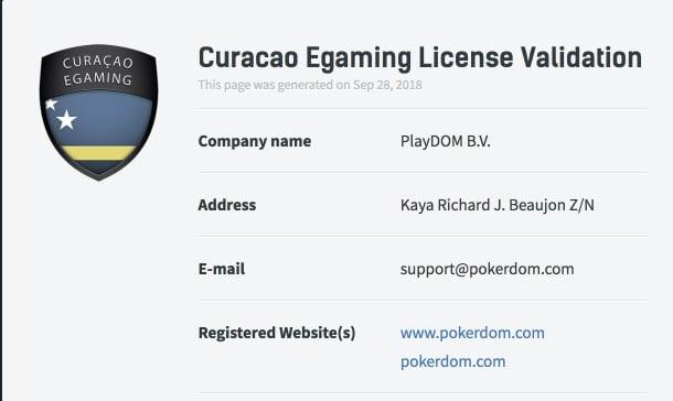Лицензия сайта PokerDom